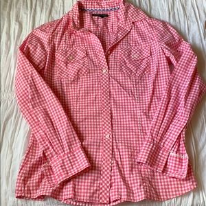 Banana Republic Pink Gingham Button Down